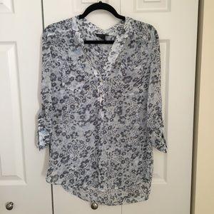 Victoria Secret floral blue v-neck blouse S.